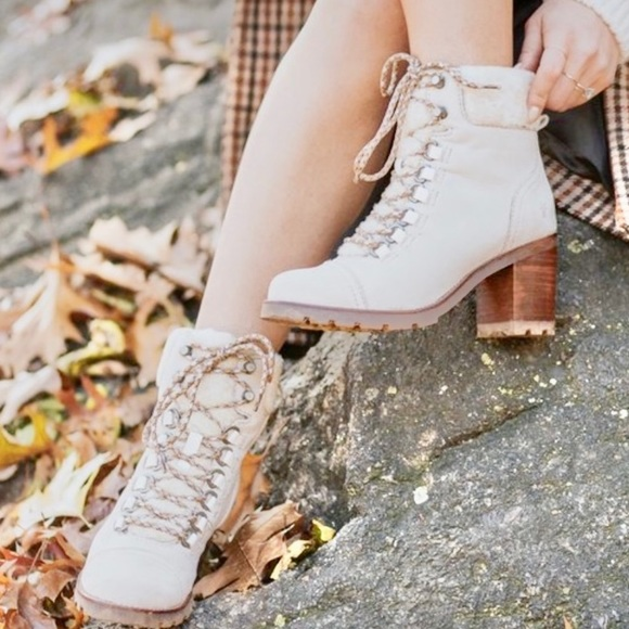 ivory lace up boots